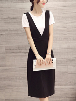 White and Black Slim Over-Hip Furcal Two-Piece Sheath Plus Size Knee Length Dress for Casual Office Party