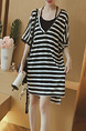 Black and White Loose Stripe Sling Two-Piece Plus Size Dress for Casual Party