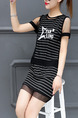 Black and White Slim Stripe See-Through Mesh Two-Piece Dress for Casual Party