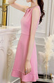 Pink Slim A-Line Butterfly Knot Above Knee Fit & Flare Plus Size Dress for Casual Party