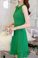 Green Slim A-Line Butterfly Knot Above Knee Fit & Flare Plus Size Dress for Casual Party