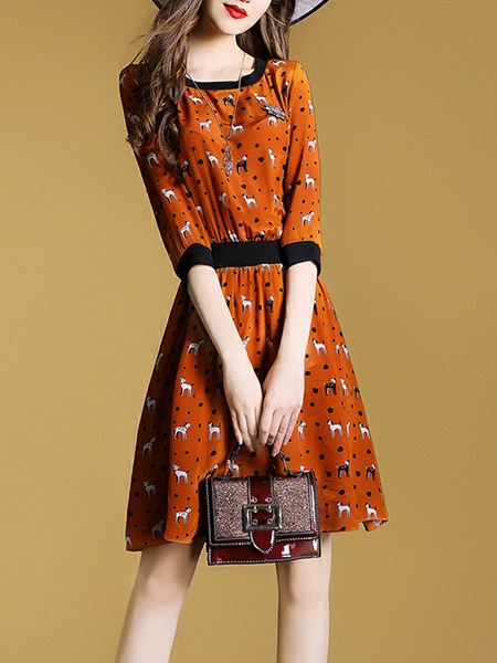 Orange Colorful Slim Printed Above Knee Fit & Flare Plus Size Dress for Casual Party