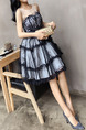 Blue and White Slim A-Line Round Neck Linking Mesh Lace See-Through Butterfly Knot Bubble Skirt Fit & Flare Knee Length Dress for Casual Party Nightclub