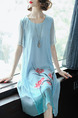 Blue Loose Located Printing Midi Shift Plus Size Dress for Casual Party