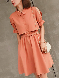 Orange Slim Pleated Off-Shoulder Above Knee Fit & Flare Dress for Casual Party