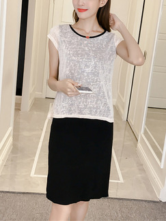 Black and Light Pink Slim Seem-Two Contrast Knee Length Dress for Casual Party