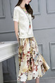 Beige and Colorful Loose Printed Midi Dress Dress for Casual Party