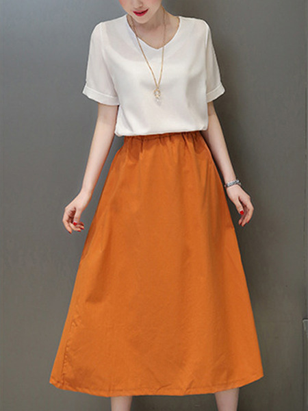 White and Orange Loose Contrast Two-Piece Midi Plus Size Dress for Casual Party