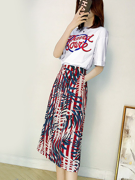 White and Colorful Slim Letter Printed Two-Piece Midi Plus Size Dress for Casual Party
