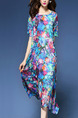Colorful Loose Printed Midi Floral Plus Size Shift Dress for Casual Party