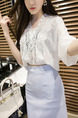 White and Light Purple Loose Lace Over-Hip Three-Piece V Neck Dress for Casual Party Office
