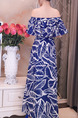 Blue and White Slim Printed Off-Shoulder Furcal Maxi Dress for Party Evening