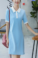 Blue Slim H-Shaped Lapel Above Knee Shift Plus Size Dress for Casual