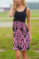 Black and Pink Slim Linking Printed Above Knee Dress for Casual Party