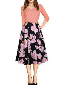 Flesh Pink and Colorful Slim Linking Printed Midi Floral Fit & Flare Dress for Casual Party Evening