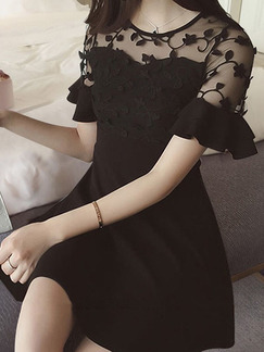 Black Slim Mesh Ruffle Above Knee Fit & Flare Lace Plus Size Dress for Casual Party Evening
