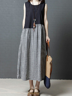 Black and Gray Loose Linking Grid Maxi Dress for Casual