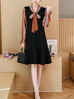 Black Loose Seem-Two Linking Stripe Knee Length Shift Long Sleeve Plus Size Dress for Casual Office