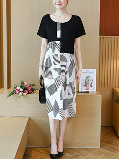 Black and White Loose Linking Printed Midi Shift Plus Size Dress for Casual Party Office