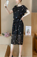 Black Colorful Loose Printed Midi Plus Size Dress for Casual Office Party