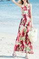 Colorful Slim Printed Open Back Maxi Slip Dress for Casual Beach