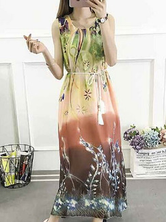 Colorful Loose Printed Maxi Plus Size Dress for Casual Beach