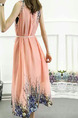 Pink Colorful Loose Located Printing Maxi Plus Size Dress for Casual Party