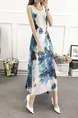 White Colorful Loose Located Printing Maxi Plus Size Dress for Casual Party Beach