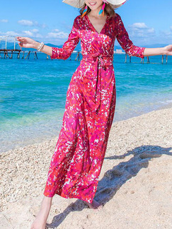 Colorful Slim Printed Band Belt Maxi Wrap V Neck Dress for Casual Beach
