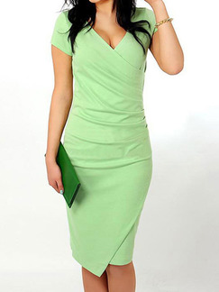 Green Bodycon Over-Hip Fold Midi V Neck Pluus Size Knee Length Dress for Casual Office Evening