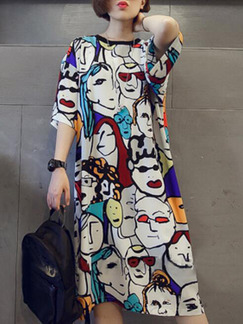 Colorful Loose Cartoon Pattern Midi Shift Plus Size Dress for Casual Party
