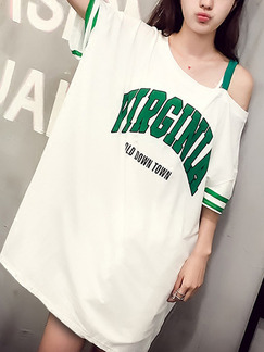 White and Green Loose Letter Inclined-Shoulder Above Knee Shift Dress for Casual