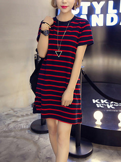 Black and Red Loose Stripe Above Knee Shift Plus Size Dress for Casual Party