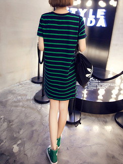 Navy Blue and Green Loose Stripe Above Knee Shift Plus Size Dress for Casual Party