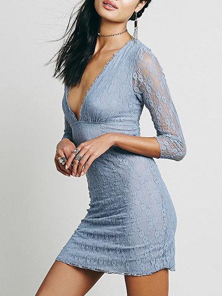 Light Blue Bodycon Lace See-Through Above Knee V Neck Dress for Party Nightclub