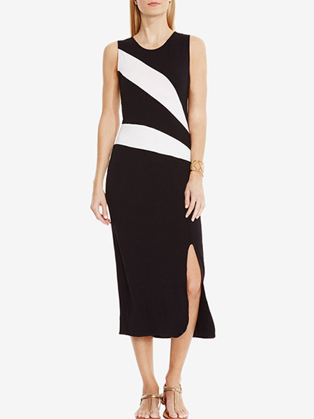Black Slim Contrast Stripe Furcal Midi Sheath Dress for Casual Office Evening