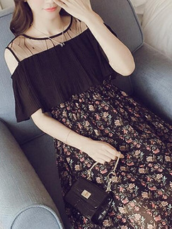 Black and Colorful Slim Linking Printed Off-Shoulder Midi Floral Dress for Casual Party Office