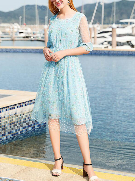 Blue Colorful Slim Printed High Waist Midi Dress for Casual Beach Party