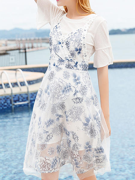 White and Navy Blue Slim Sling Printed Two-Piece Knee Length Floral Dress for Casual Party Beach