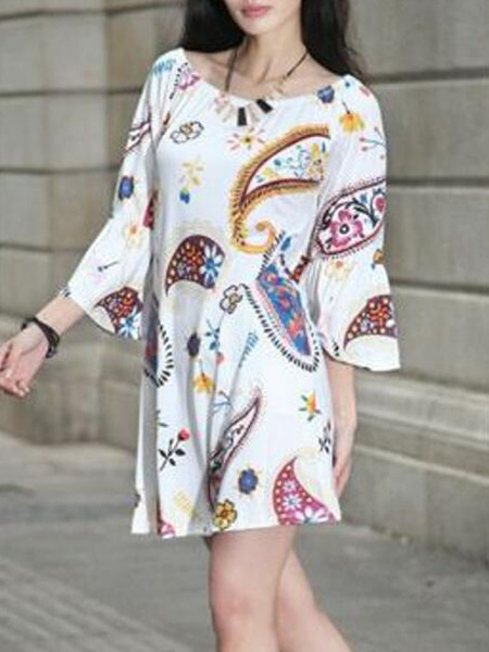 White Loose Printed Boat Collar Above Knee Shift Off Shoulders Dress for Casual Party