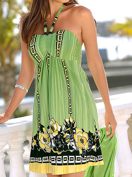 Green Loose Printed Hang Neck Above Knee Dress for Casual Beach