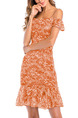 Orange and White Slim Printed Ruffle Above Knee Slip Off Shoulders Dress for Casual Party