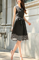 Black Slim Linking Wave Point Knee Length Plus Size V Neck Dress for Casual Party