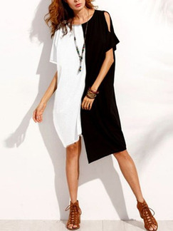 Black and White Loose Contrast Linking Irregular Midi Shift Plus Size Dress for Casual
