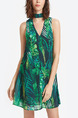 Green Colorful Loose Printed Above Knee Tropical V Neck Plus Size Shift Dress for Casual Party Beach