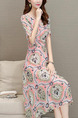 Pink Colorful Slim Printed High Waist Midi Fit & Flare Plus Size Dress for Casual Party