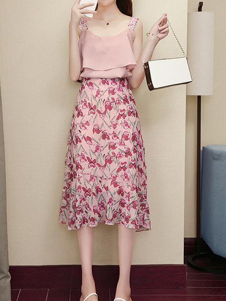 Pink Slim Sling Printed Skirt Two-Piece Knee Length Plus Size Dress for Casual Party