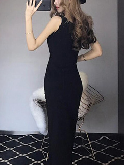 Black Slim Over-Hip Furcal Midi V Neck Bodycon Dress for Party Evening Cocktail Prom