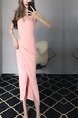 Pink Slim Over-Hip Furcal Midi V Neck Bodycon Dress for Party Evening Cocktail Prom