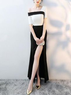 Black and White Slim Contrast Fishtail Maxi One Shoulder Dress for Party Evening Cocktail Prom
